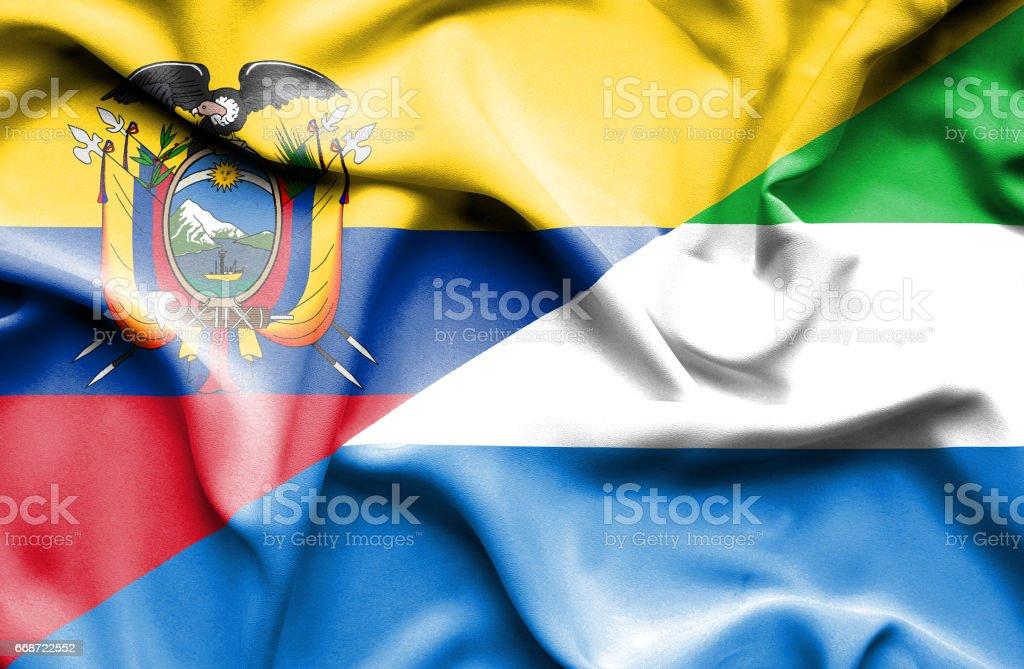 Agitant le drapeau de la Sierra Leone et de l'Équateur - Illustration vectorielle