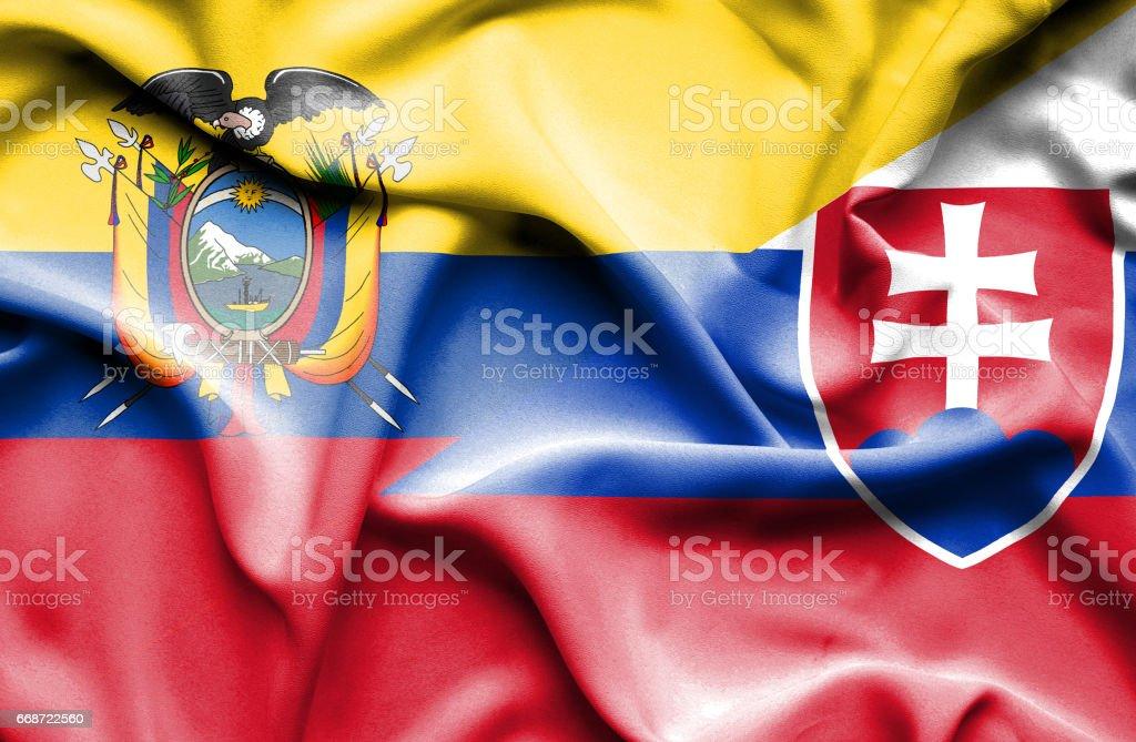 Waving flag of Slovakia and Ecuador - Illustration vectorielle