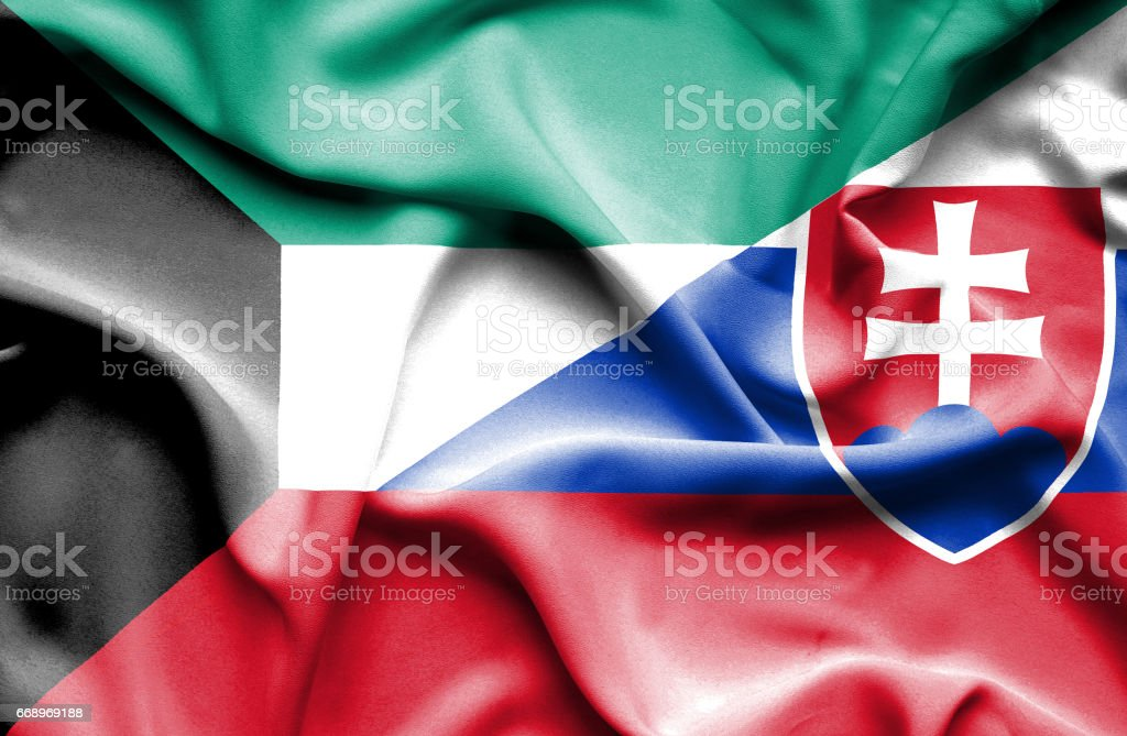 Waving flag of Slovakia and Kuwait waving flag of slovakia and kuwait - immagini vettoriali stock e altre immagini di accordo d'intesa royalty-free