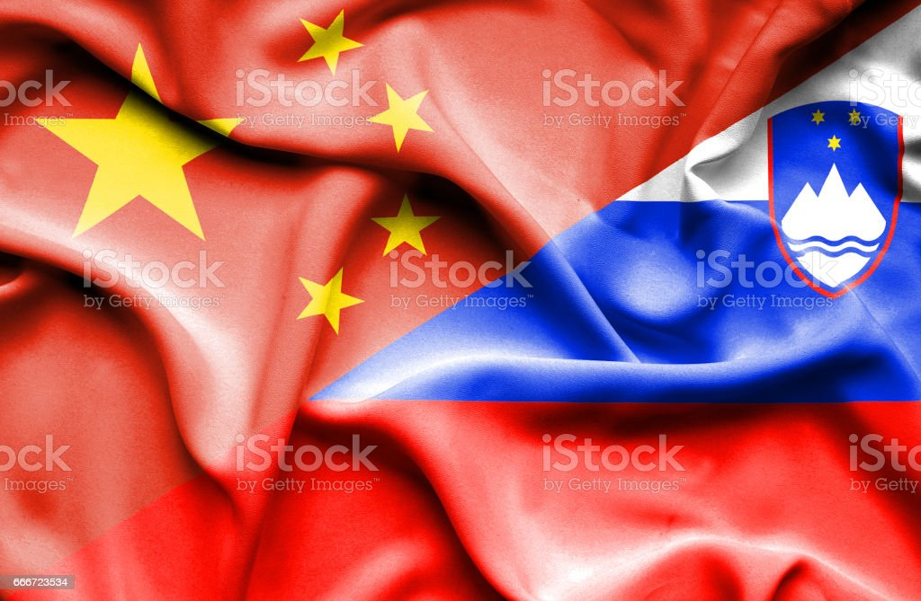 Waving flag of Slovenia and China vector art illustration
