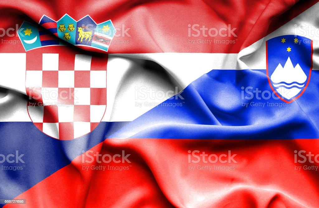 Waving flag of Slovenia and Croatia vector art illustration