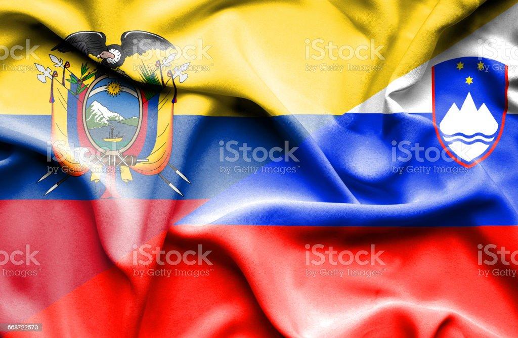 Waving flag of Slovenia and Ecuador - Illustration vectorielle