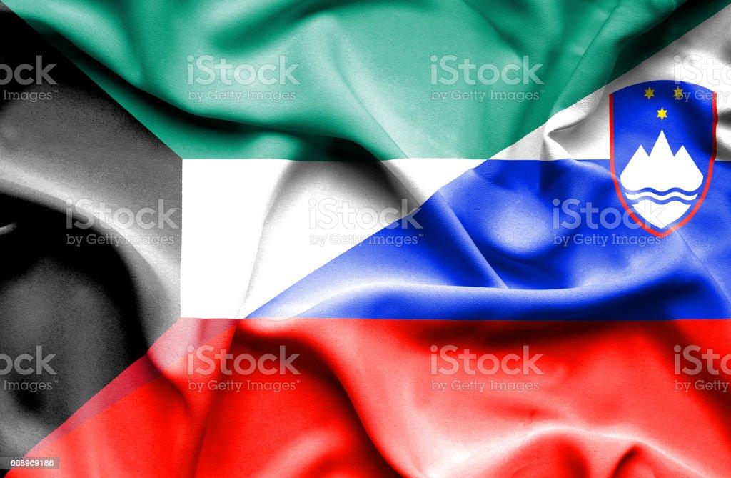 Waving flag of Slovenia and Kuwait waving flag of slovenia and kuwait - immagini vettoriali stock e altre immagini di accordo d'intesa royalty-free