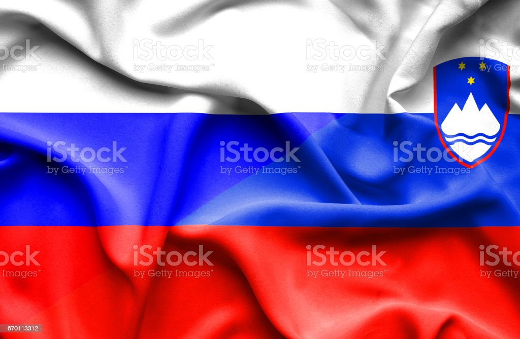 Waving flag of Slovenia and Russia vector art illustration