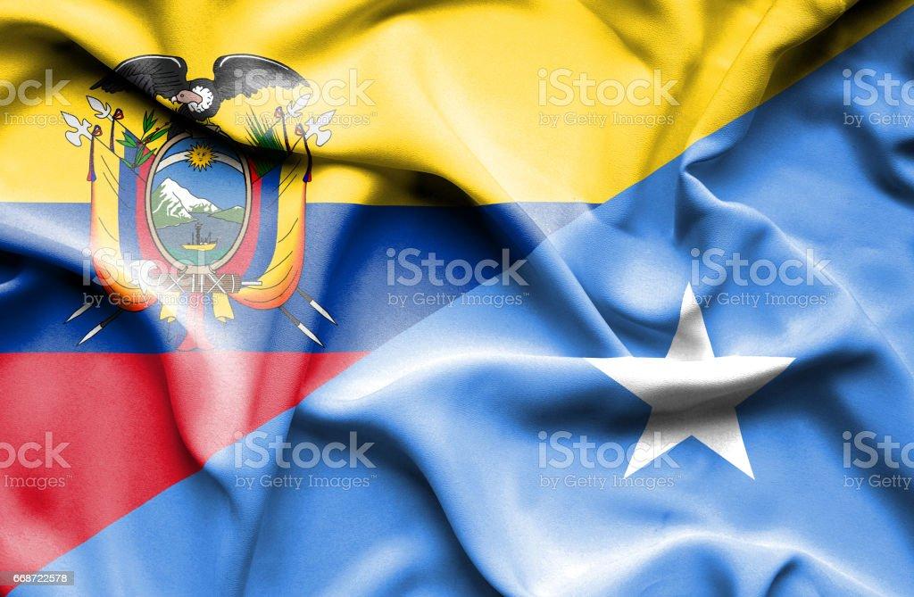 Waving flag of Somalia and Ecuador - Illustration vectorielle