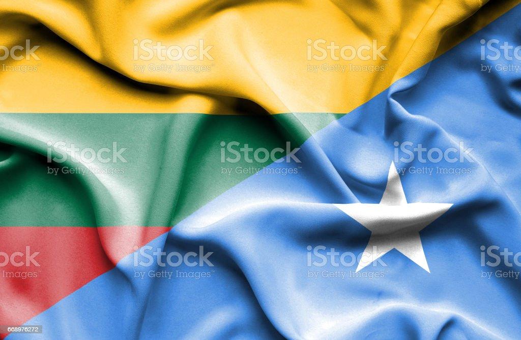 Waving flag of Somalia and Lithuania waving flag of somalia and lithuania - immagini vettoriali stock e altre immagini di accordo d'intesa royalty-free