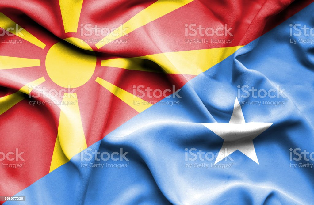 Waving flag of Somalia and Macedonia waving flag of somalia and macedonia - immagini vettoriali stock e altre immagini di accordo d'intesa royalty-free