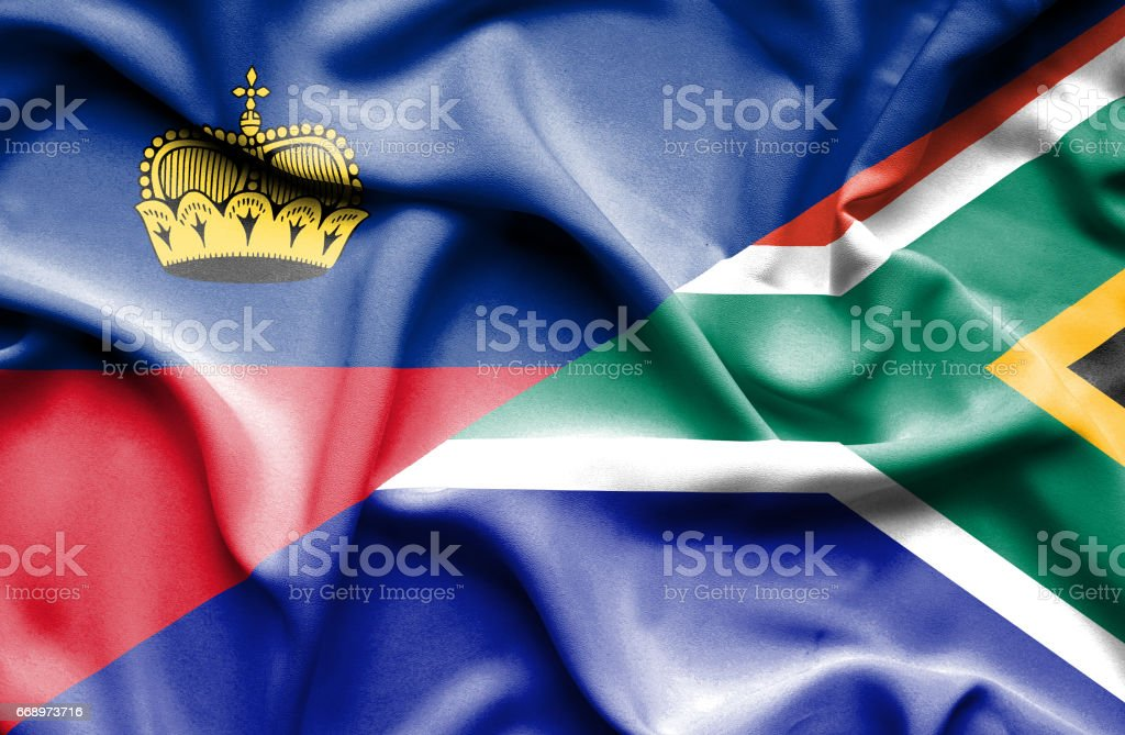 Waving flag of South Africa and Lichtenstein waving flag of south africa and lichtenstein - immagini vettoriali stock e altre immagini di accordo d'intesa royalty-free
