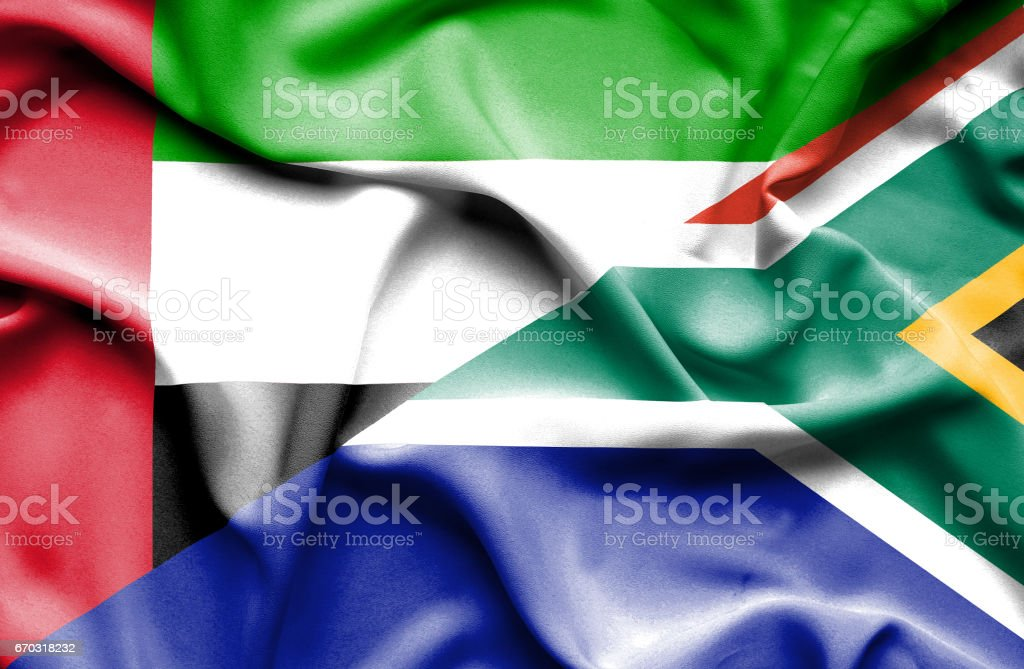 Waving Flag Of South Africa And United Arab Emirates Stock