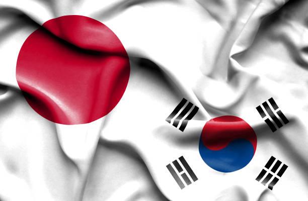 韓国と日本の旗を振っています。 - 韓国の国旗点のイラスト素材/クリップアート素材/マンガ素材/アイコン素材