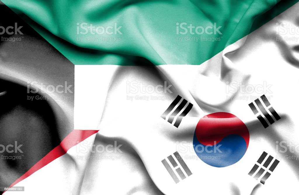 Waving flag of South Korea and Kuwait waving flag of south korea and kuwait - immagini vettoriali stock e altre immagini di accordo d'intesa royalty-free