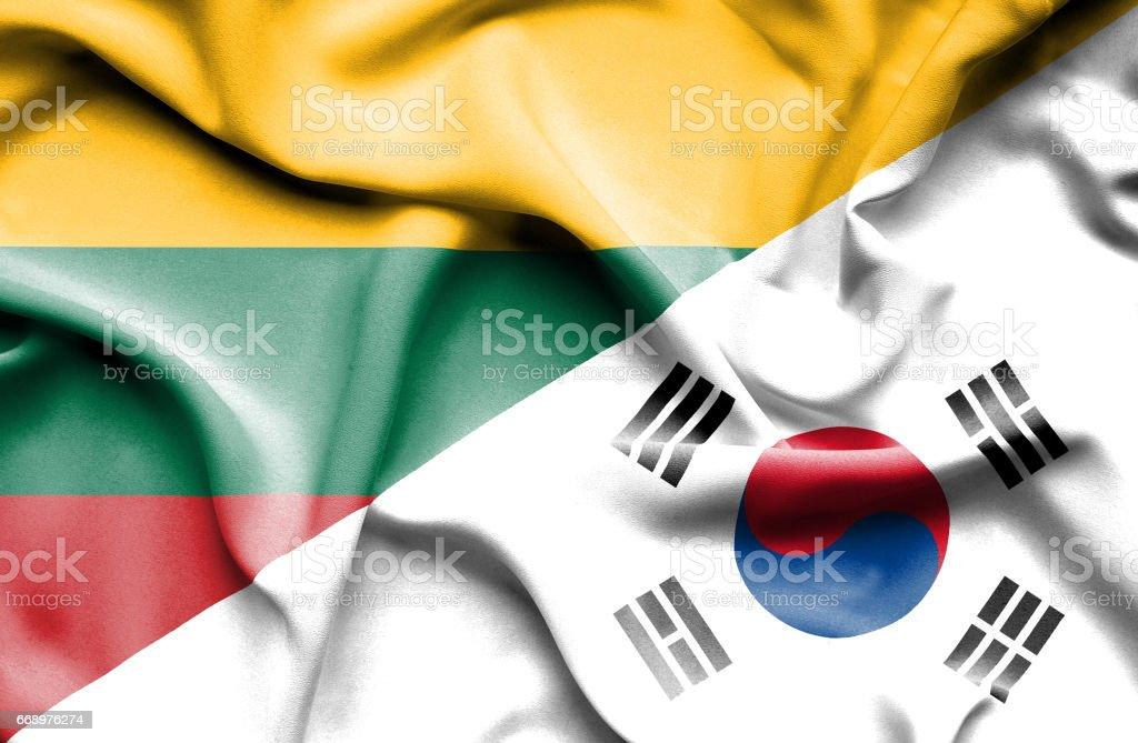 Waving flag of South Korea and Lithuania waving flag of south korea and lithuania - immagini vettoriali stock e altre immagini di accordo d'intesa royalty-free