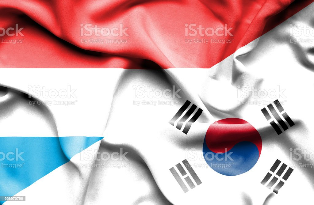 Waving flag of South Korea and Luxembourg waving flag of south korea and luxembourg - immagini vettoriali stock e altre immagini di accordo d'intesa royalty-free