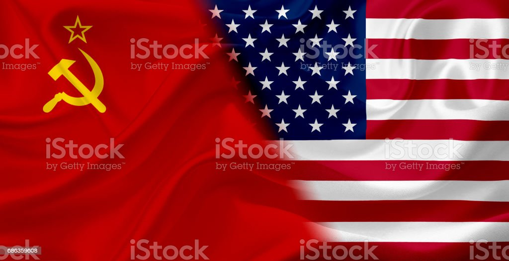 Waving flag of Soviet Union and USA, with fabric texture vector art illustration