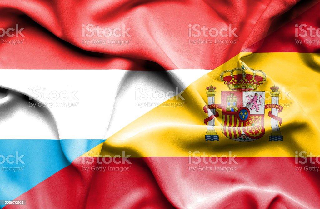 Waving flag of Spain and Luxembourg waving flag of spain and luxembourg - immagini vettoriali stock e altre immagini di accordo d'intesa royalty-free