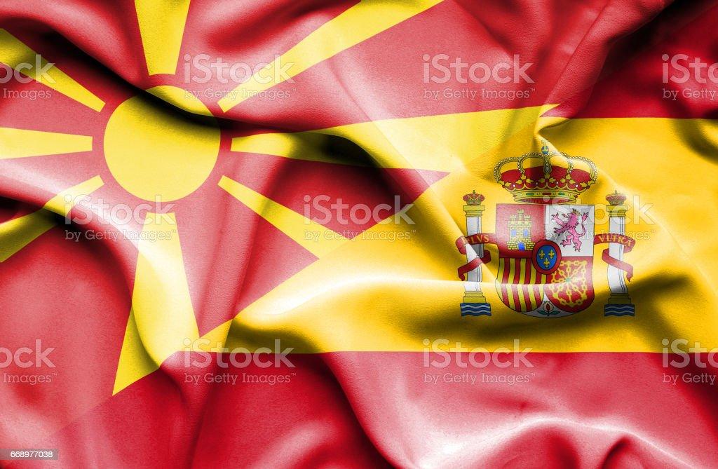 Waving flag of Spain and Macedonia waving flag of spain and macedonia - immagini vettoriali stock e altre immagini di accordo d'intesa royalty-free