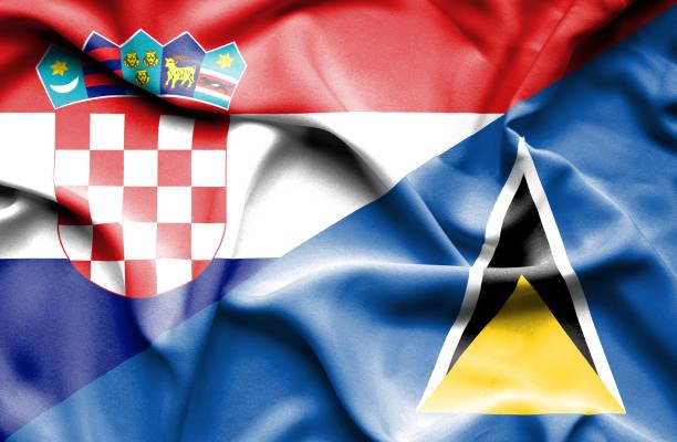 bildbanksillustrationer, clip art samt tecknat material och ikoner med waving flag of st lucia and croatia - lucia