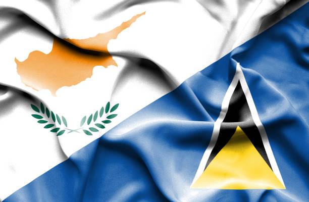 bildbanksillustrationer, clip art samt tecknat material och ikoner med viftande flagga st lucia och cypern - lucia