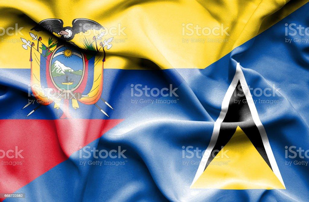 Waving flag of St Lucia and Ecuador - Illustration vectorielle