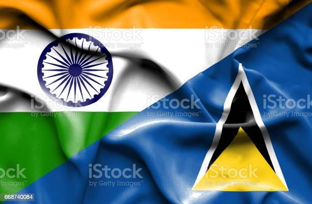 Waving Flag Of St Lucia And India-vektorgrafik och fler bilder på Diplomati