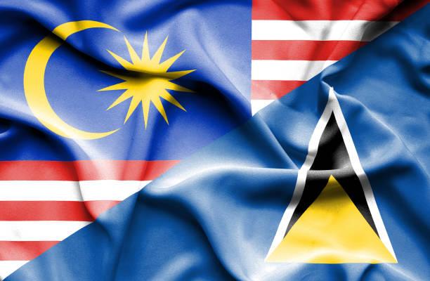 bildbanksillustrationer, clip art samt tecknat material och ikoner med waving flagga st lucia och malaysia - lucia