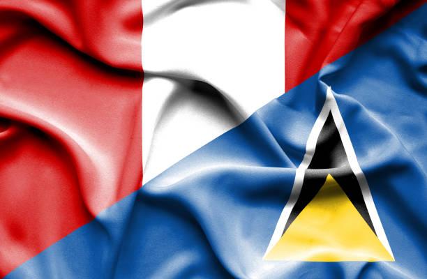 bildbanksillustrationer, clip art samt tecknat material och ikoner med waving flag of st lucia and peru - lucia