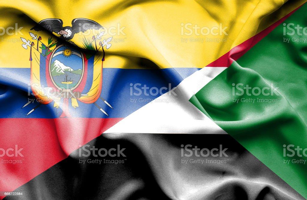 Waving flag of Sudan and Ecuador - Illustration vectorielle