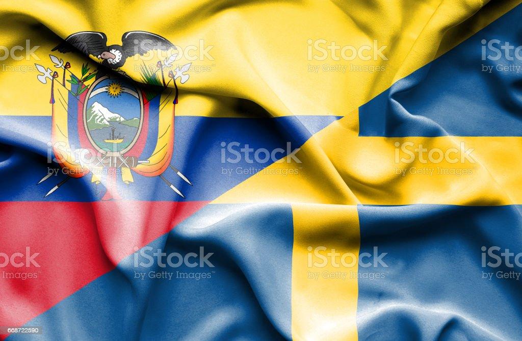 Waving flag of Sweden and Ecuador - Illustration vectorielle