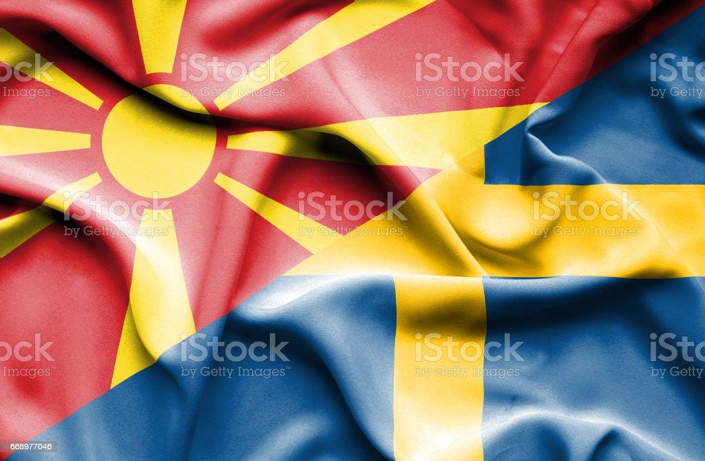 Waving flag of Sweden and Macedonia waving flag of sweden and macedonia - immagini vettoriali stock e altre immagini di accordo d'intesa royalty-free