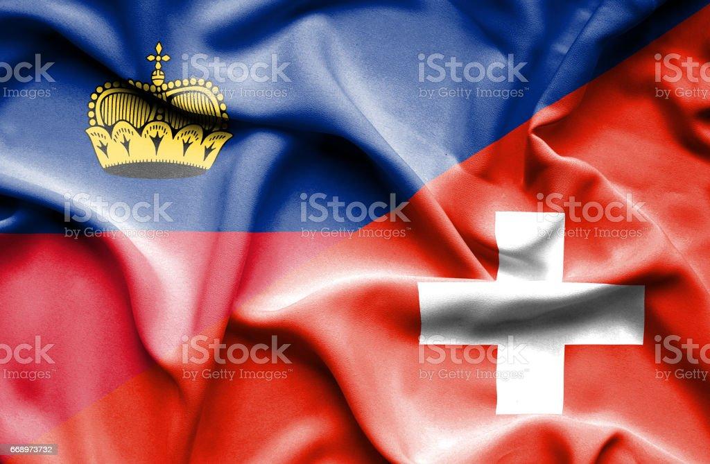 Waving flag of Switzerland and Lichtenstein waving flag of switzerland and lichtenstein - immagini vettoriali stock e altre immagini di accordo d'intesa royalty-free
