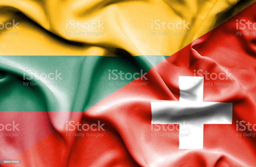 Waving flag of Switzerland and Lithuania waving flag of switzerland and lithuania - immagini vettoriali stock e altre immagini di accordo d'intesa royalty-free