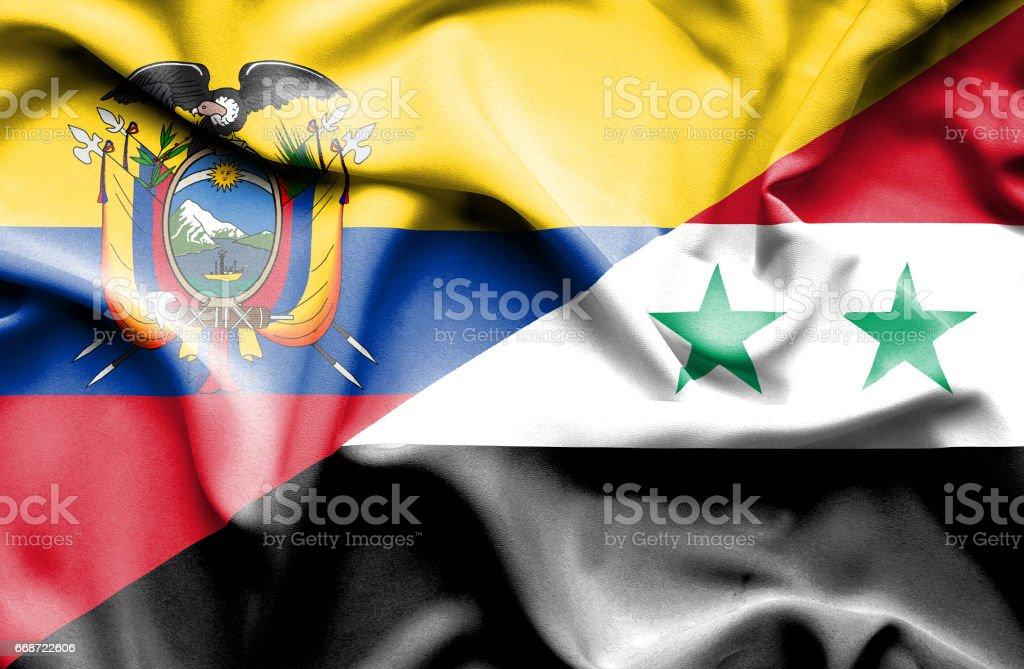 Agitant le drapeau de la Syrie et de l'Équateur - Illustration vectorielle