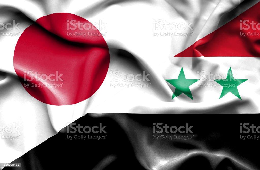 Waving flag of Syria and Japan vector art illustration