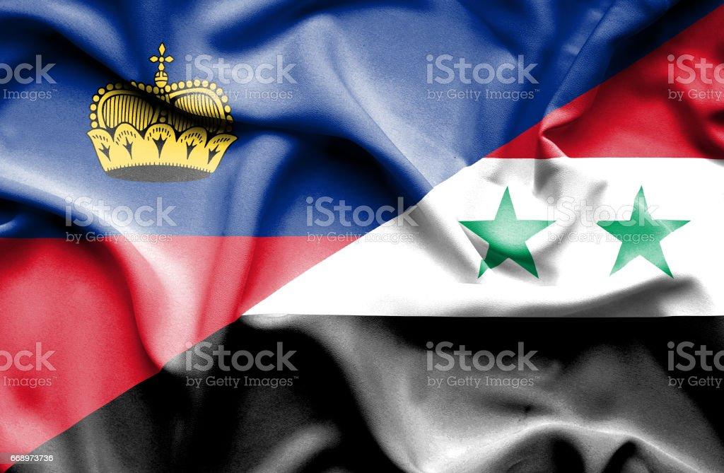 Waving flag of Syria and Lichtenstein waving flag of syria and lichtenstein - immagini vettoriali stock e altre immagini di accordo d'intesa royalty-free