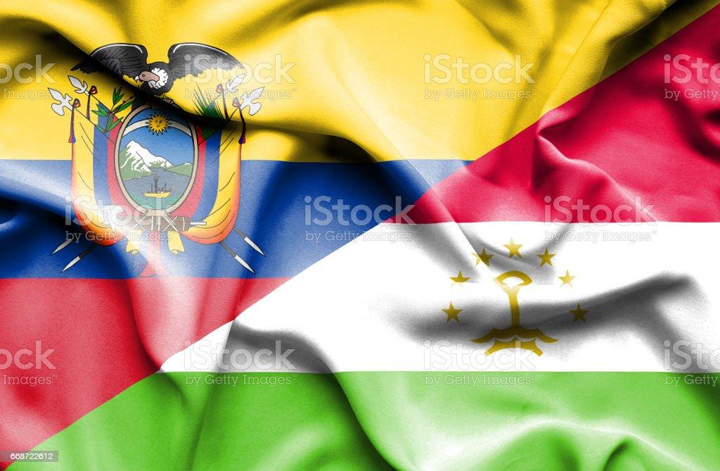 Agitant le drapeau du Tadjikistan et de l'Équateur - Illustration vectorielle