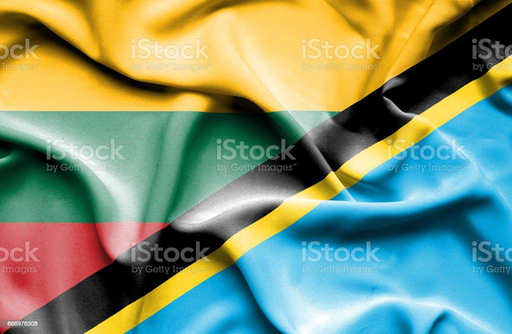 Waving flag of Tanzania and Lithuania waving flag of tanzania and lithuania - immagini vettoriali stock e altre immagini di accordo d'intesa royalty-free