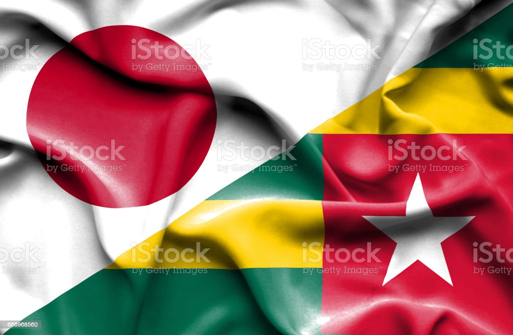 Waving flag of Togo and Japan waving flag of togo and japan - immagini vettoriali stock e altre immagini di accordo d'intesa royalty-free