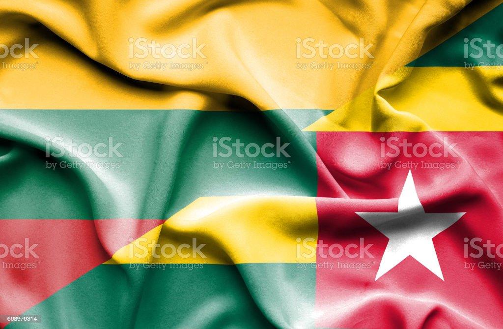 Waving flag of Togo and Lithuania waving flag of togo and lithuania - immagini vettoriali stock e altre immagini di accordo d'intesa royalty-free