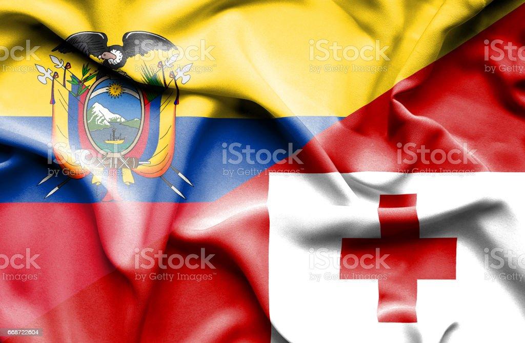 Agitant le drapeau des Tonga et de l'Équateur - Illustration vectorielle