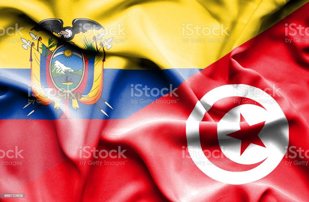 Waving flag of Tunisia and Ecuador - Illustration vectorielle