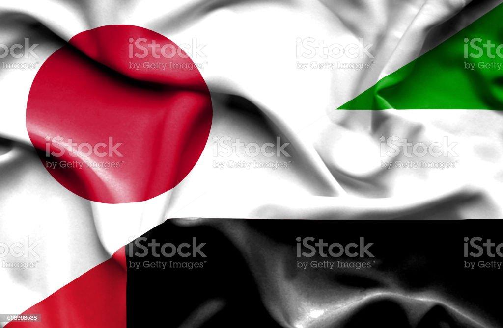 Waving flag of United Arab Emirates and Japan waving flag of united arab emirates and japan - immagini vettoriali stock e altre immagini di accordo d'intesa royalty-free