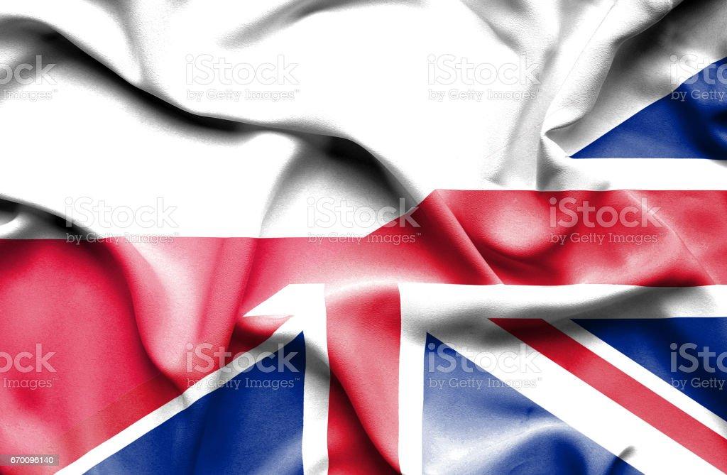 Waving flag of United Kingdom and Poland vector art illustration