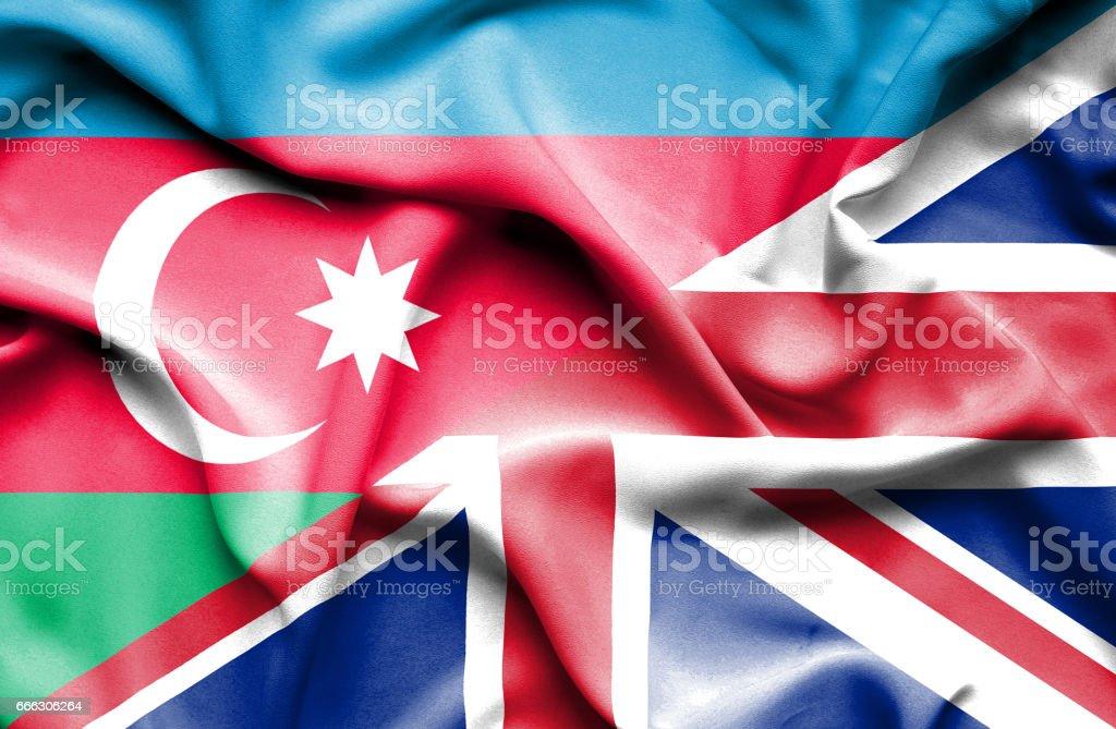 Waving flag of United Kingdon and Azerbaijan vector art illustration