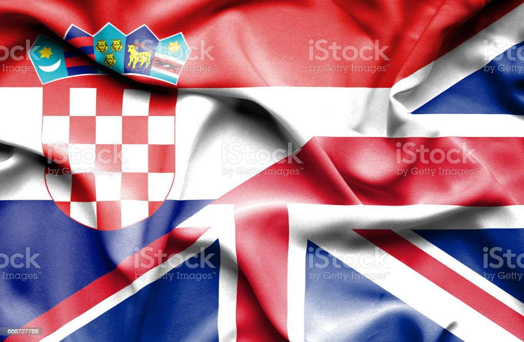 Bandera de Reino Unido y Croacia - ilustración de arte vectorial