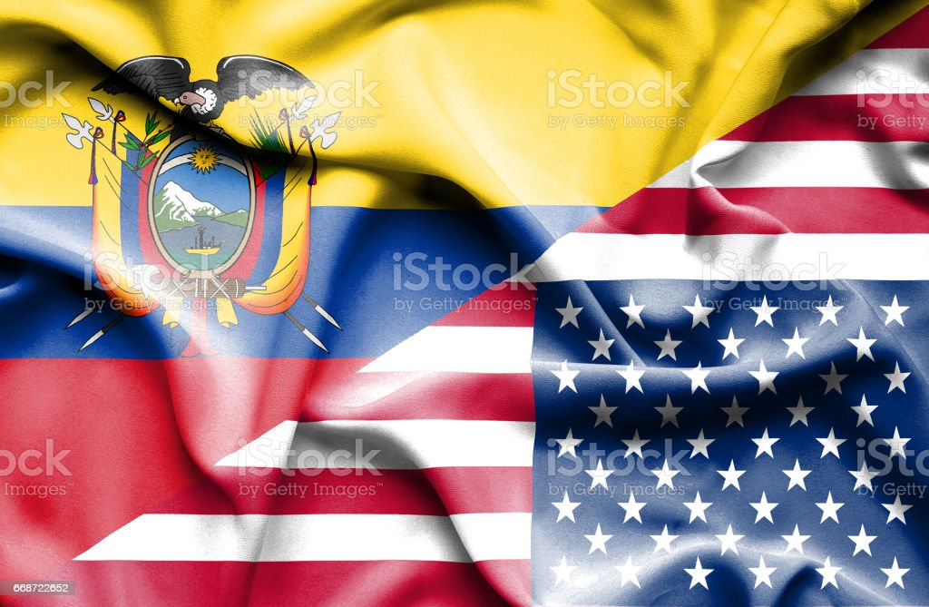 Waving flag of United States of America and Ecuador vector art illustration
