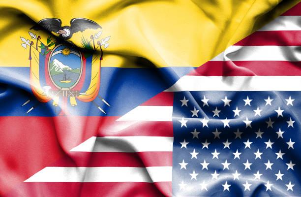 ilustraciones, imágenes clip art, dibujos animados e iconos de stock de waving flag of united states of america and ecuador - bandera de ecuador