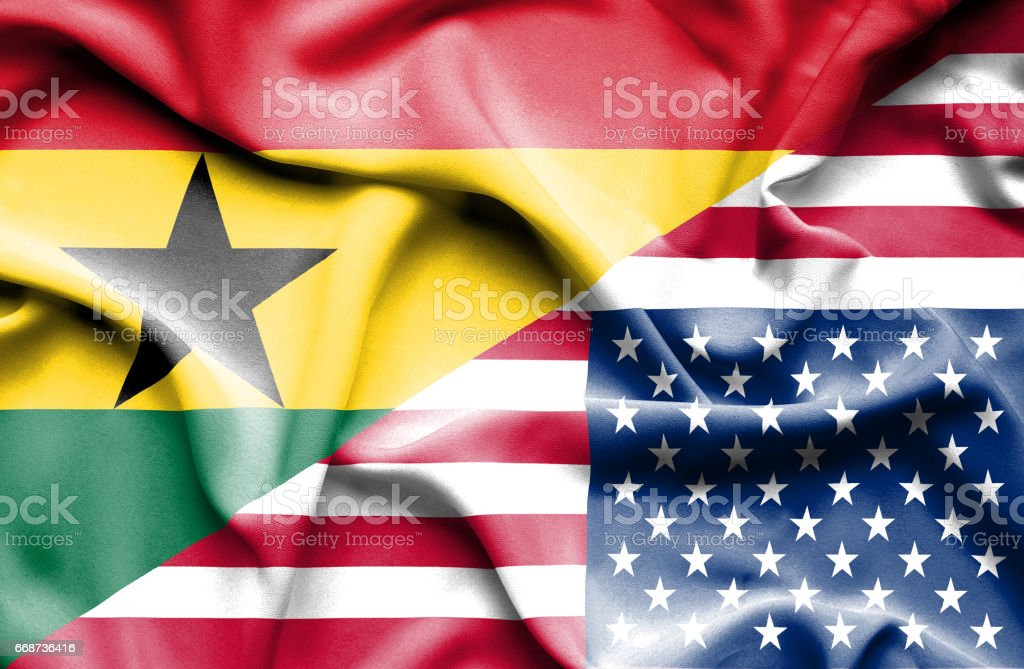 Waving flag of United States of America and Ghana - ilustración de arte vectorial