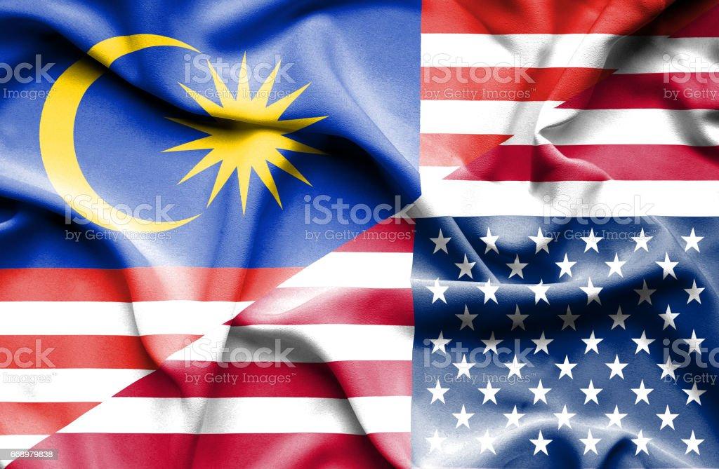 Waving flag of United States of America and Malaysia waving flag of united states of america and malaysia - immagini vettoriali stock e altre immagini di accordo d'intesa royalty-free