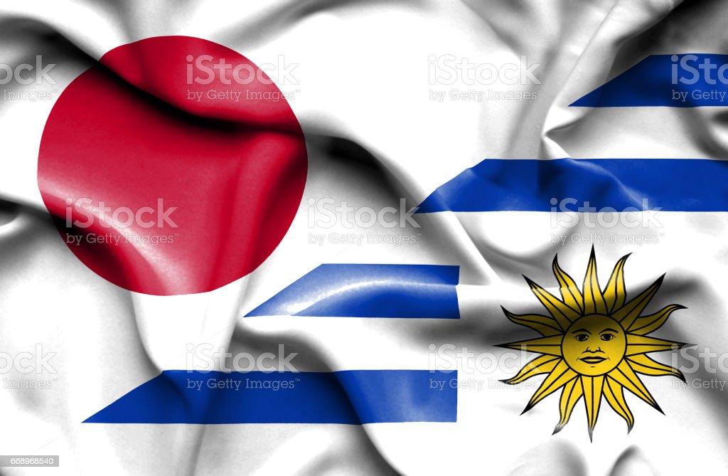 Waving flag of Uruguay and Japan waving flag of uruguay and japan - immagini vettoriali stock e altre immagini di accordo d'intesa royalty-free