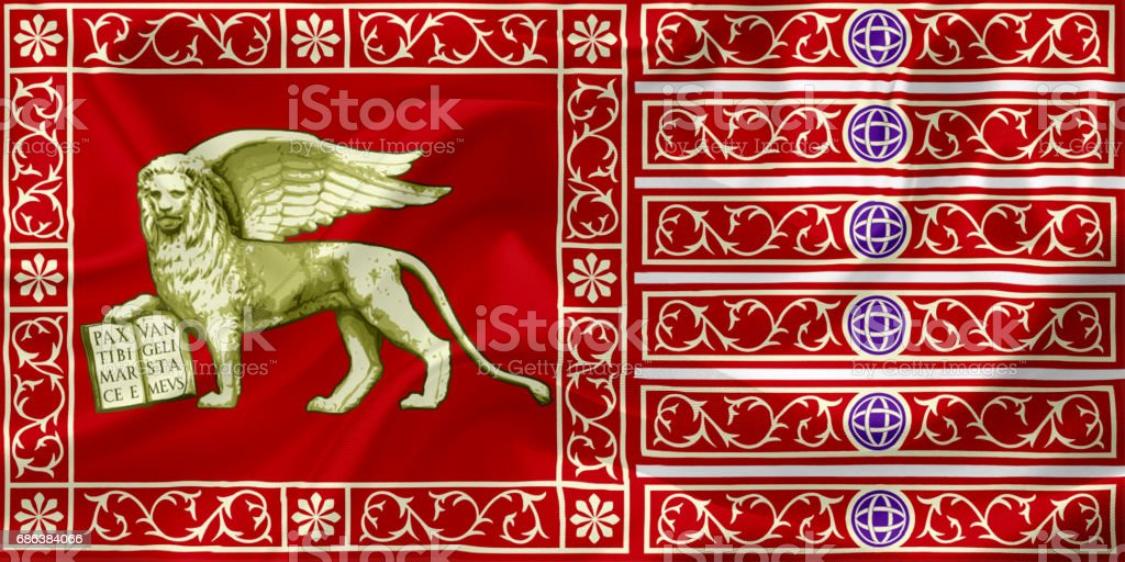 Waving flag of Venice, Italy, with fabric texture vector art illustration